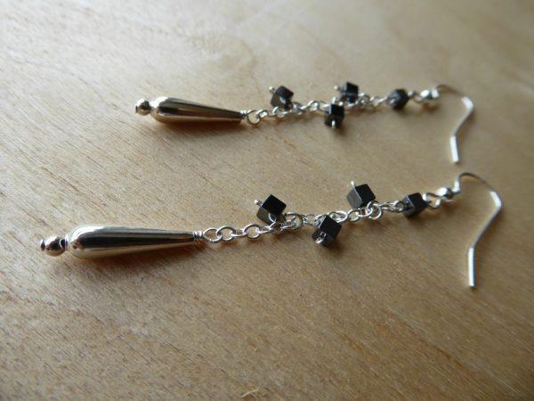 Haematite Cubes on chain Drop Earrings