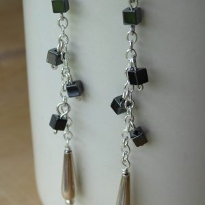 Haematite Cubes on chain Drop Earrings