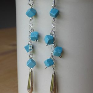 Handmade Gemstone Turquoise drop earrings.