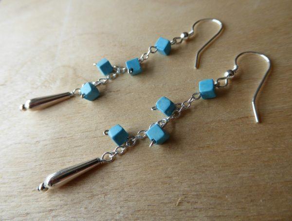 Handmade Turquoise drop earrings.