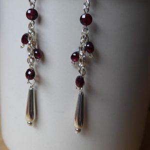 Handmade Garnet Beaded Drop Earrings