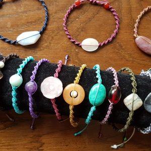 Handmade Gemstone Macrame Cord Bracelets