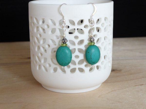 Gemstone Turquoise Peridot Earrings