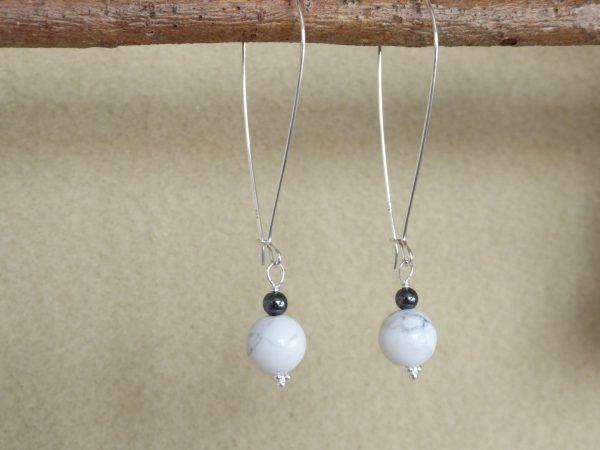 Large modern 46mm silver hoop earrings with howlite drops