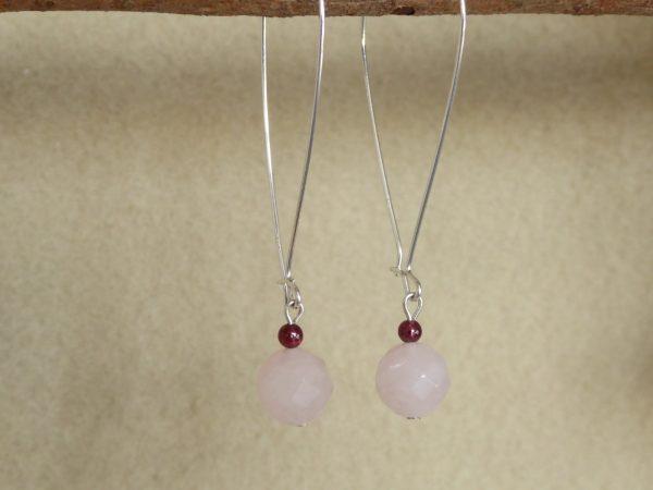 Large modern 46mm silver hoop earrings with rose quartz drops