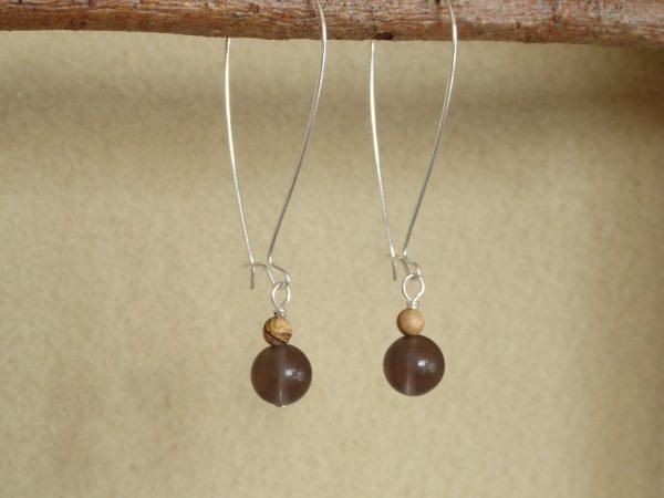 Large modern 46mm silver hoop earrings with smokey quartz drops