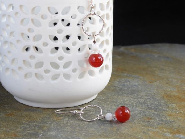 Red Cornelian dropper Earrings