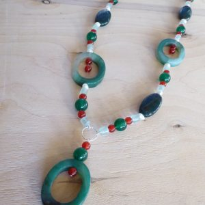 Green Agate and Fluorite Long Handmade Necklace