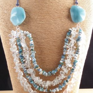 Amazonite and Turquoise Multi Row Necklace.