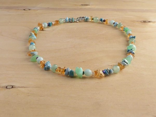Blue Green Multi Gemstone Beaded Necklace