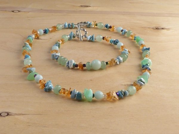 Handmade Blue Multi Bead Bracelet and Necklace