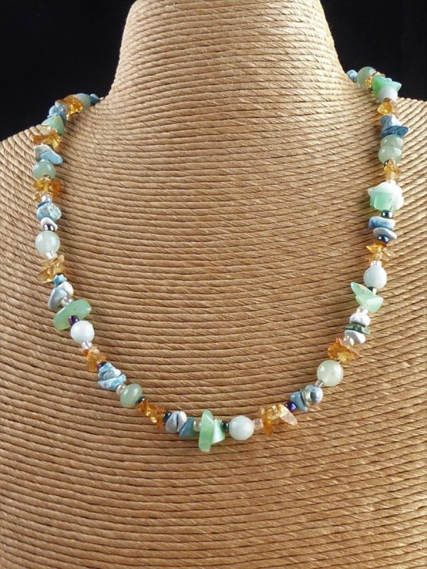 Handmade Blue Multi Gemstone Beaded Necklace