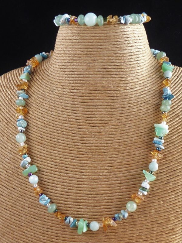 Blue Multi Gemstone Beaded Necklace and Bracelet and Necklace