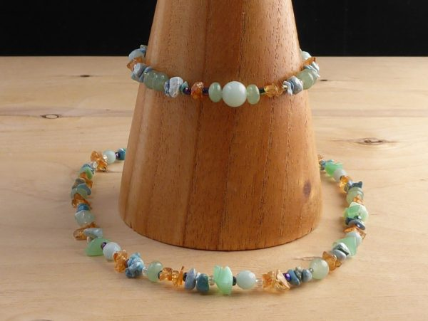 Blue Multi Gemstone Beaded Bracelet and Necklace
