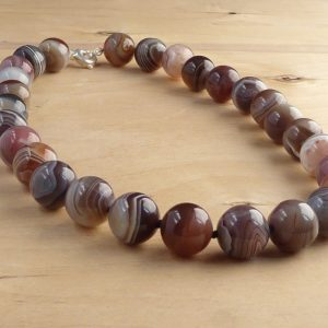 stripey botswana agate necklace