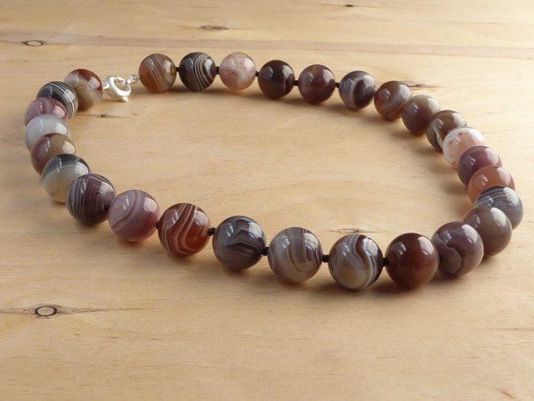 beige stripey botswana agate necklace