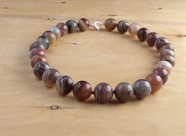 grey stripey botswana agate necklace