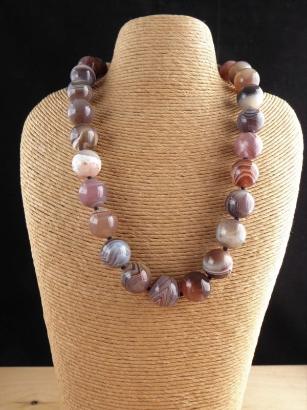 Brown stripey botswana agate necklace