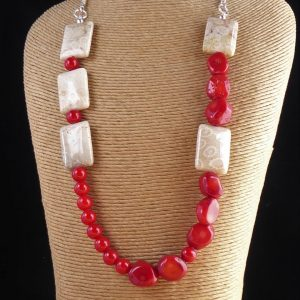 Red Bamboo and Fossilised Coral Handmade Necklace