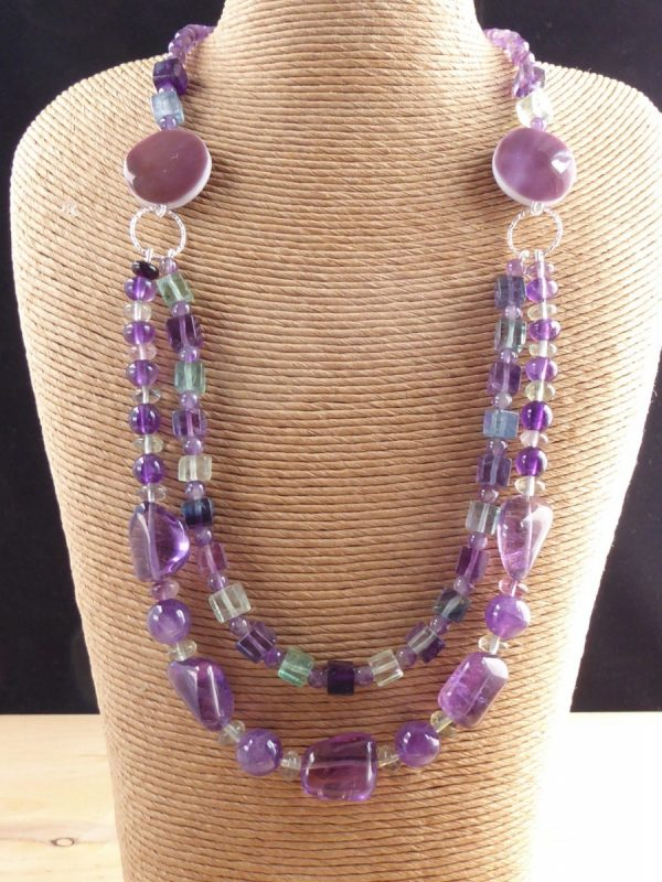Purple and green Amethyst 2 row necklace