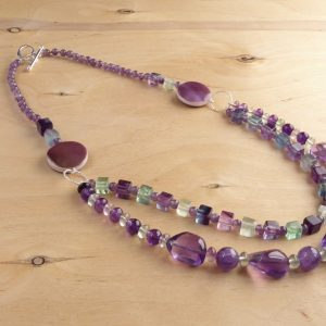 Handmade Purple and green 2 row necklace