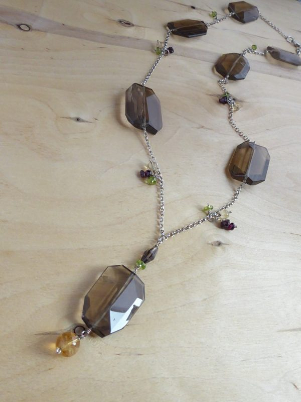 Necklace long brown smokey quartz on chain bead charms