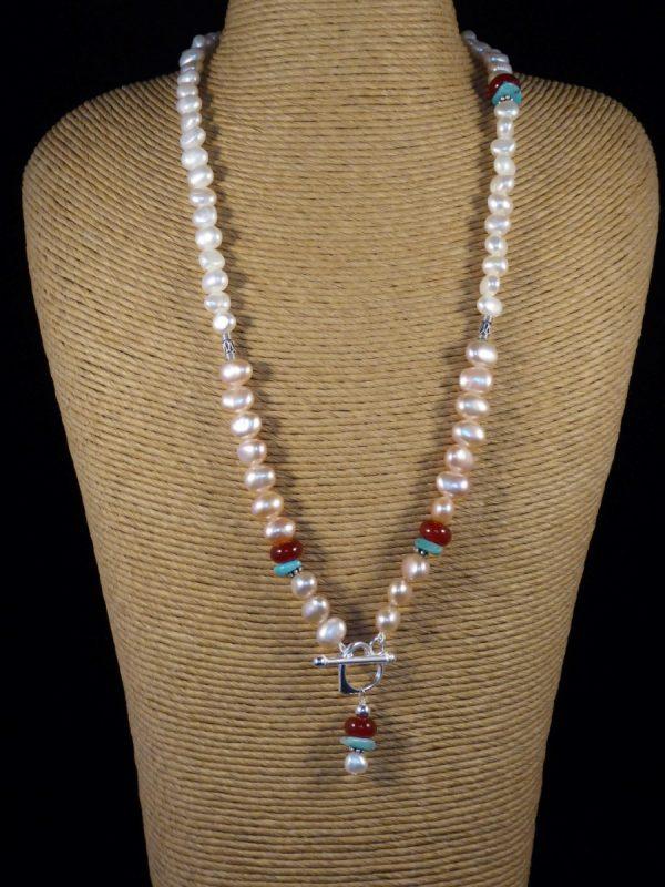 Handmade Cornelian, Turquoise, Pearl Necklace