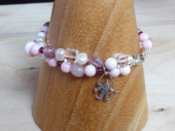 bracelet, pink coral, gemstone, 2 row twist