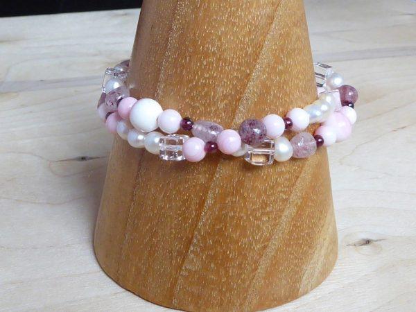 bracelet, beaded coral gemstone, 2 row twist