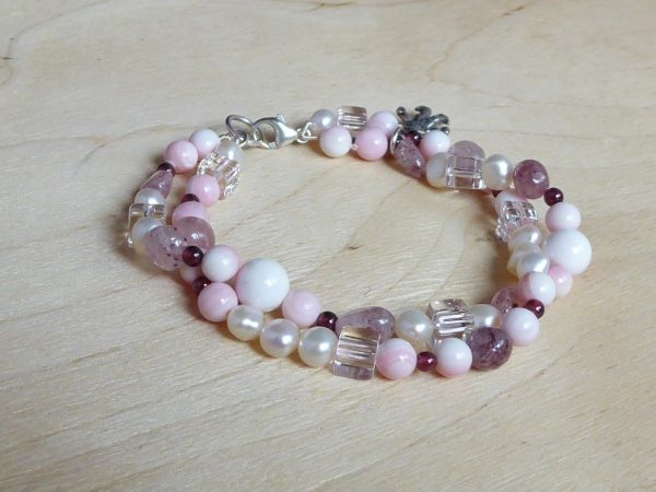 bracelet, pink coral gemstone, 2 row twist