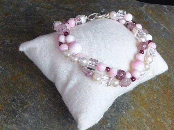 bracelet, coral and gemstone, 2 row twist