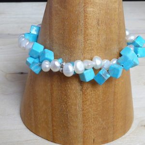 bracelet, freshwater pearls, turquoise cubes, 2 row, twist