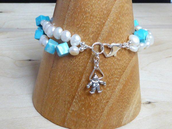 bracelet, freshwater pearls, turquoise cubes, 2 row, twist