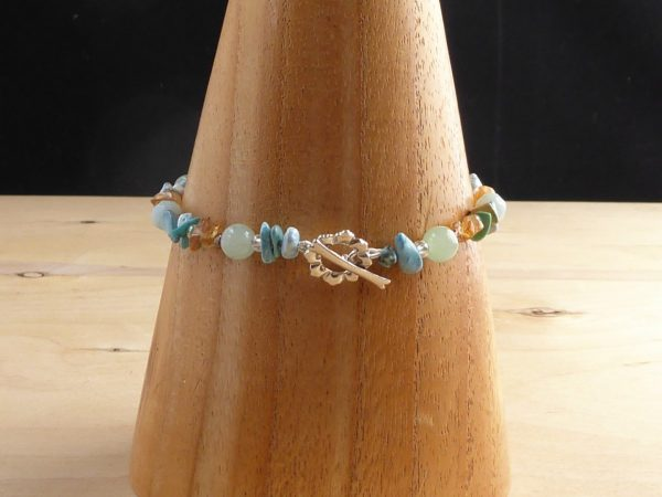 A blue/green bracelet of mixed beads