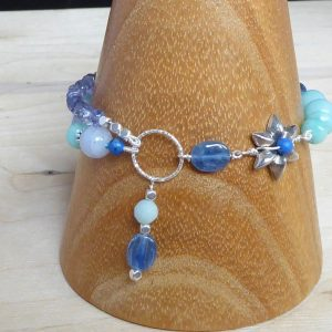 Handmade Amazonite, Blue Lace Agate, Iolite and silver bracelet