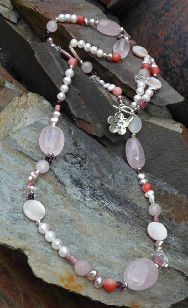 Long Rose Quartz and Freshwater Pearl Necklace