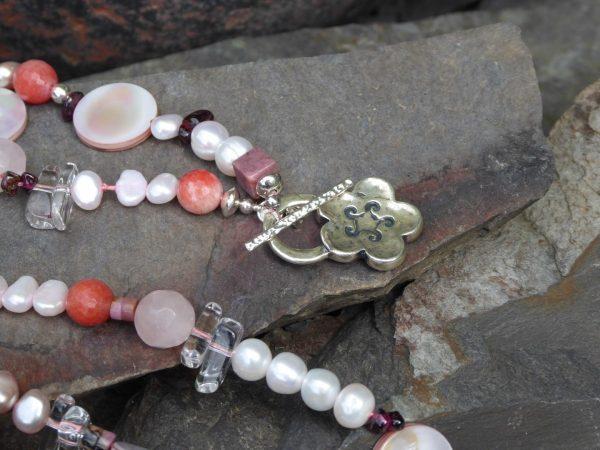 Silver Flower Clasp on Long Rose Quartz Necklace