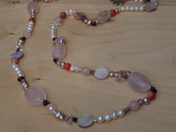 Rose Quartz, Mother of Pearl, Pearl Necklace with silver clasp