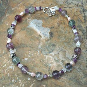Fluorite and Crackled Quartz Necklace