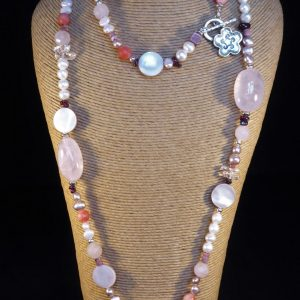 Long Rose Quartz and Freshwater Pearl and Silver clasp Necklace