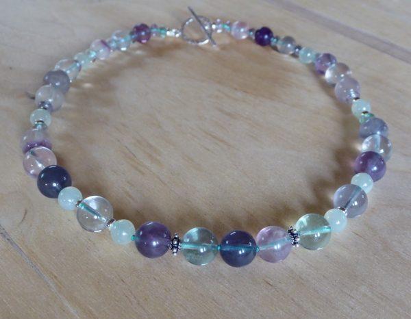 Handmade Fluorite and Serpentine Beaded Necklace