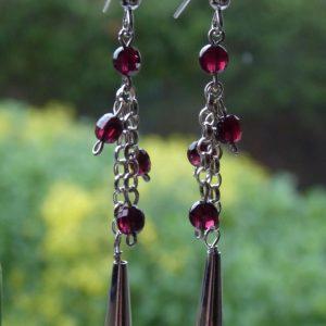 Earrings long chain drops with garnet droplets