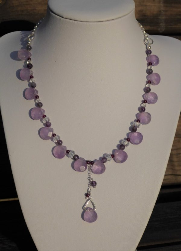 Handmade Amethyst Necklace with Rock Crystal.