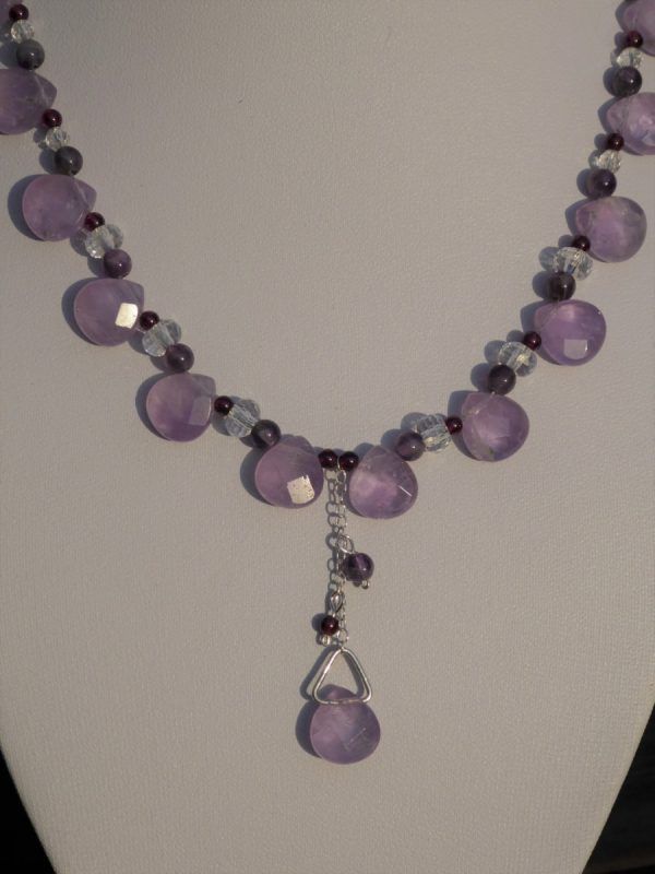 Amethyst Necklace with Rock Crystal. front detail