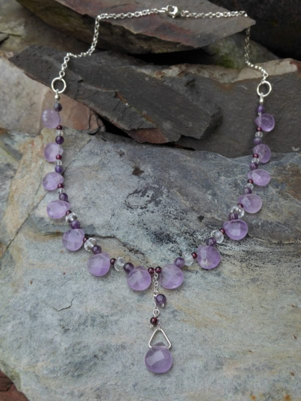Handmade Amethyst Droplets Necklace with Rock Crystal and Garnet