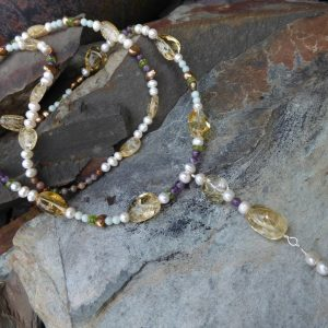 Handmade Citrine and Pearl Long Necklace