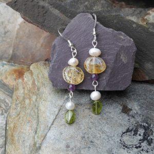 Citrine, Pearl and Peridot Drop Earrings