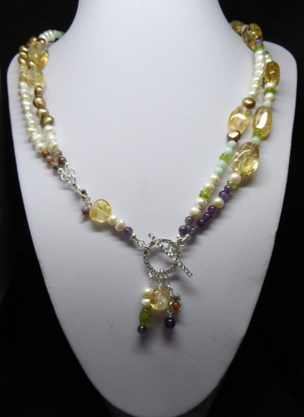Citrine Pearl and gemstone bead long necklace