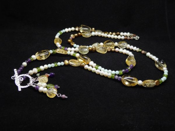 Citrine, Pearl, Amethyst, Peridot, handmade long neckace