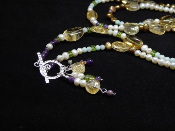 Citrine, Pearl, Amethyst, Amazonite, neckace beaded charms view.